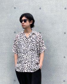 WAX (ワックス) Animal open collar shirts (アニマルオープンカラーシャツ) WHITE