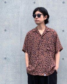 WAX (ワックス) Animal open collar shirts (アニマルオープンカラーシャツ) BROWN