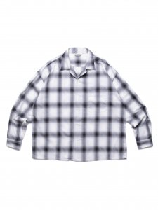 COOTIE (クーティー) Ombre Check Open Collar Shirt (オンブレチェックオープンカラーシャツ) Off White×Black