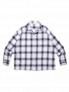 【残り1点】COOTIE (クーティー) Ombre Check Open Collar Shirt (オンブレチェックオープンカラーシャツ) Off White×Black