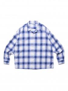 【残り1点】COOTIE (クーティー) Ombre Check Open Collar Shirt (オンブレチェックオープンカラーシャツ) Off White×Blue