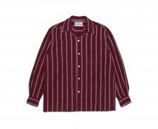WACKO MARIA (ワコマリア) STRIPED OPEN COLLAR SHIRT L/S (ストライプオープンカラーシャツ) BURGUNDY