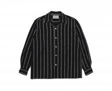 WACKO MARIA (ワコマリア) STRIPED OPEN COLLAR SHIRT L/S (ストライプオープンカラーシャツ) BLACK