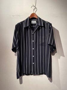 WACKO MARIA (ワコマリア) STRIPED OPEN COLLAR SHIRT S/S ( TYPE-4 ) (ストライプオープンカラー半袖シャツ) BLACK