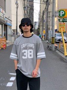 CAPTAINS HELM (キャプテンズヘルム) #38 DOUBLE MESH FBT (ダブルメッシュフットボールTEE) GRAY