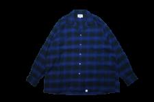 WAX (ワックス) Ombre check open shirts(オンブレチェックオープンカラーシャツ) PURPLE