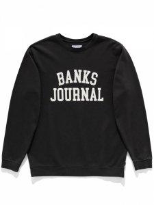 【残り1点】BANKS (バンクス) DEFENSE CREW SWEAT (プリントクルースウェット) DIRTY BLACK