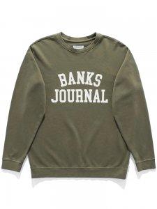 【残り1点】BANKS (バンクス) DEFENSE CREW SWEAT (プリントクルースウェット) ARMY