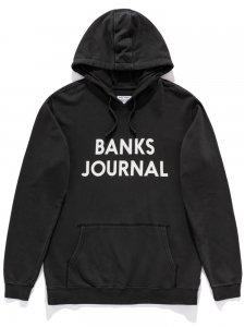 【残り1点】BANKS (バンクス) JOURNAL PARKA (プリントプルオーバーパーカー) DIRTY BLACK