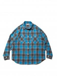 【残り1点】COOTIE (クーティー) Ombre Nel Check Work Shirt (オンブレネルチェックワークシャツ) Blue