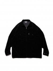 COOTIE (クーティー) Velour Zip Up Work Shirt (ベロアジップワークシャツ) Black