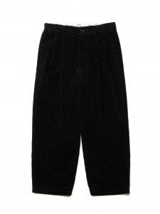 COOTIE (クーティー) Wide Corduroy 2 Tuck Trousers (ワイドコーデュロイツータックトラウザー) Black