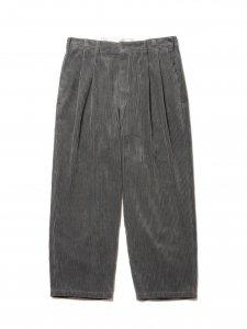 COOTIE (クーティー) Wide Corduroy 2 Tuck Trousers (ワイドコーデュロイツータックトラウザー) Gray
