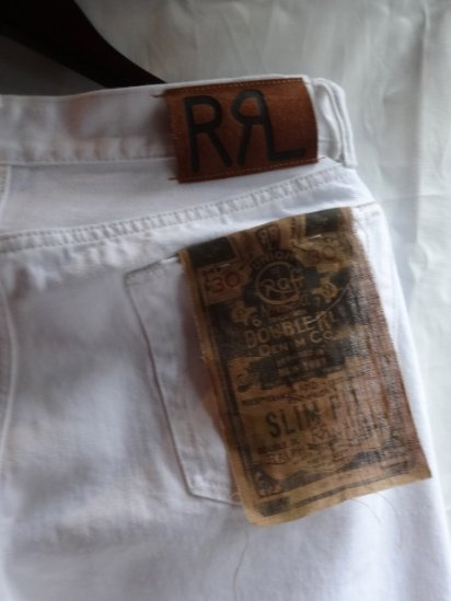 RRL Slim Fit Denim Pants White