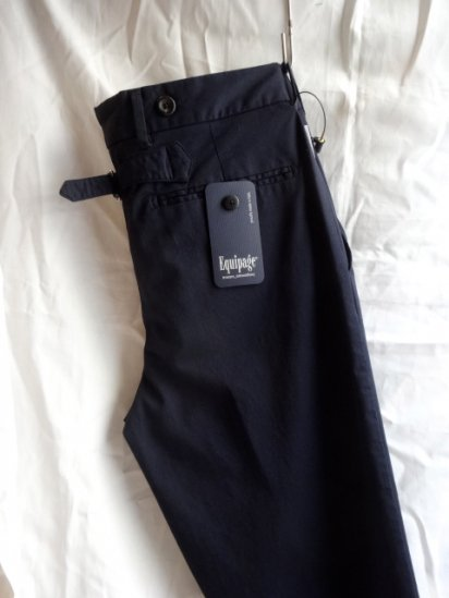 Equipage Made in Italy Pleated Front Stretch Trousers<BR>Navy<BR>SALE! 25,000 + Tax → 17,500 + Tax