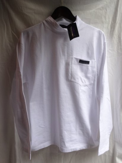 Thousand Mile Mock Neck Pocket L/S Tee White<BR>SALE! 5,500 + Tax → 3,300 + Tax