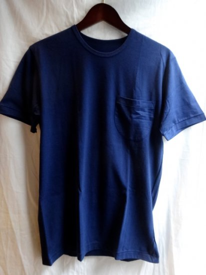 Made in Britain<BR>Binder Crew Neck Pocket Navy