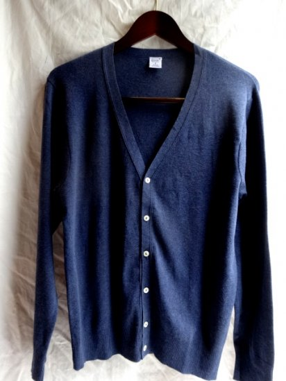 Gicipi Cotton Knit Cardigan Made in Italy Navy