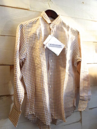 INDIVIDUALIZED SHIRTS Linen Check Shirts Yellow SALE!