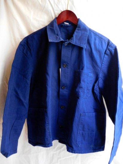 60~70's Vintage German Work Indigo Herringbone Jacket <BR>F