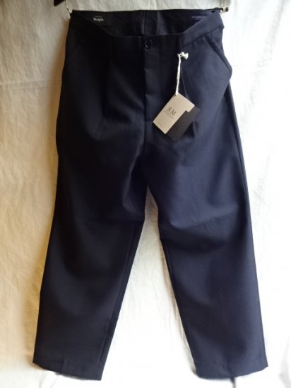 RICCARDO METHA Marzotto Fabric Wool 1Tac Trousers Made in Italy Navy
