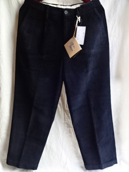 RICCARDO METHA Corduroy 1Tac Trousers Made in Italy Navy