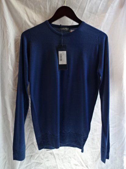 John Smedley Extra Fine Merino Wool Knit CLEVES PULLOVER Made in England<BR>B.Sea