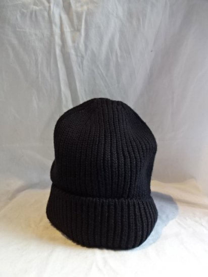 Made in France 100% Wool Knit Cap Black