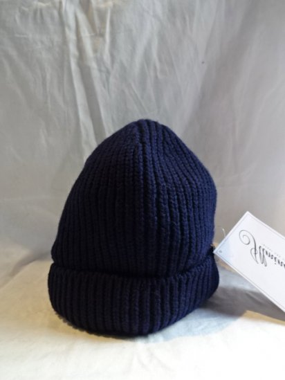 Made in France 100% Wool Knit Cap Navy