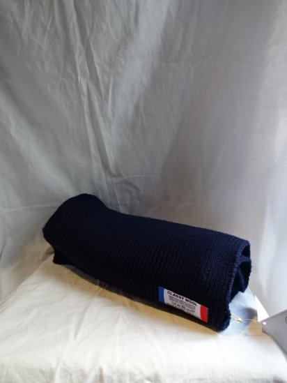 Made in France 100% Wool Knit Muffler Navy