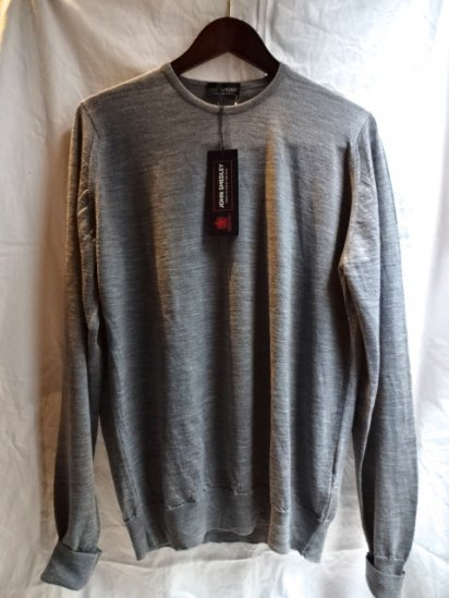 John Smedley Extra Fine Merino Wool Knit MARCUS PULLOVER Made in England Gray