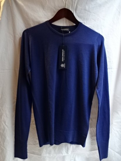 John Smedley Extra Fine Merino Wool Knit MARCUS PULLOVER Made in England Blue