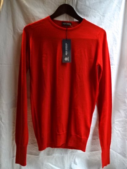 John Smedley Extra Fine Merino Wool Knit MARCUS PULLOVER Made in England Red