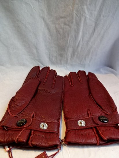 DENTS Peccary Leather x Cashmere Lining Glove Made in England Wine