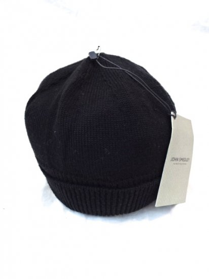 JOHN SMEDLEY Merino Wool Knit Cap MADE IN ENGLAND Black