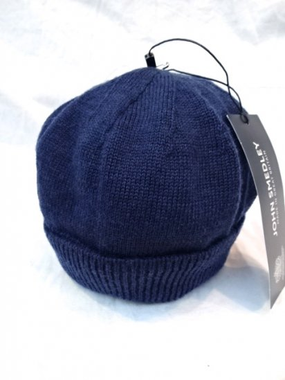 JOHN SMEDLEY Merino Wool Knit Cap MADE IN ENGLAND Blue