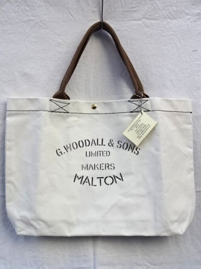 G.Woodall & Sons 14oz Cotton Canvas SHOULDER BAG POPPER Made in England White