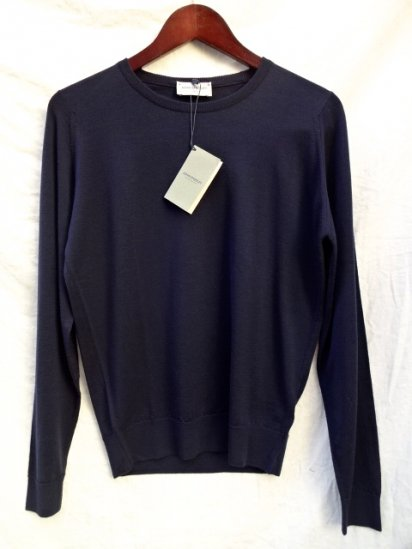 John Smedley Extra Fine Merino Wool Knit A3835 PULLOVER Made in England Navy
