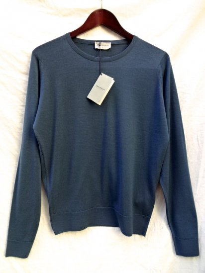 John Smedley Extra Fine Merino Wool Knit A3835 PULLOVER Made in England Blue