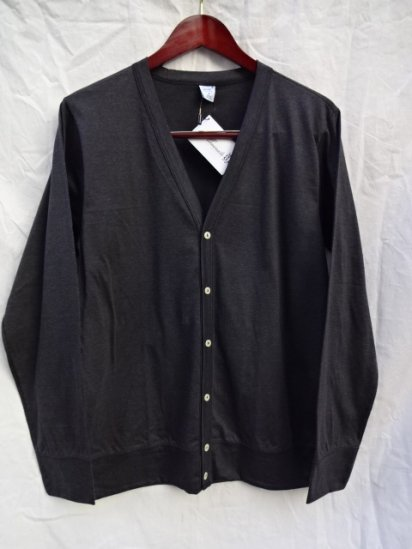 Gicipi Cotton Jersey Cardigan Made in Italy Charcoal