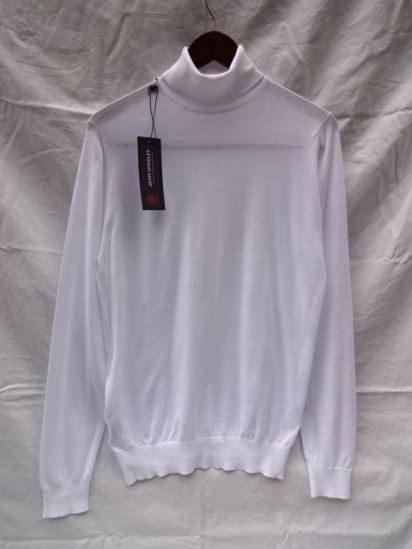 JOHN SMEDLEY Sea Island Cotton Turtle Neck MADE IN ENGLAND White