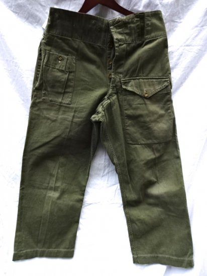 60's Vintage British Army Green Drill Over Trousers /1