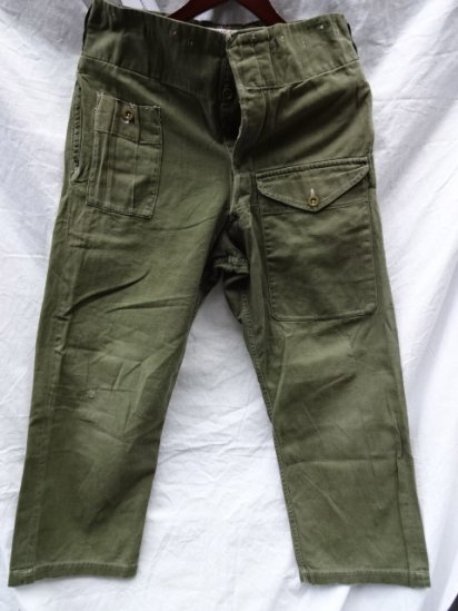 60's Vintage British Army Green Drill Over Trousers /2