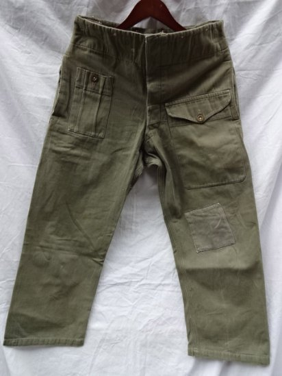 60's Vintage British Army Green Denim Over Trousers /3