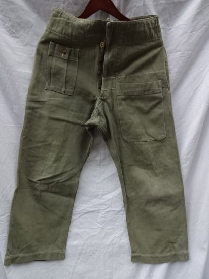 60's Vintage British Army Green Denim Over Trousers /4
