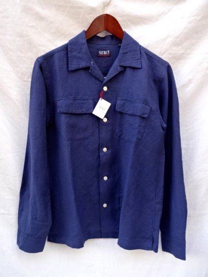 SERO Linen x Rayon Open Collar Shirts Navy
