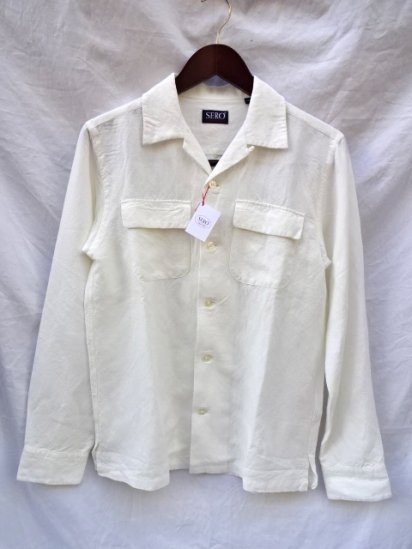SERO Linen x Rayon Open Collar Shirts White