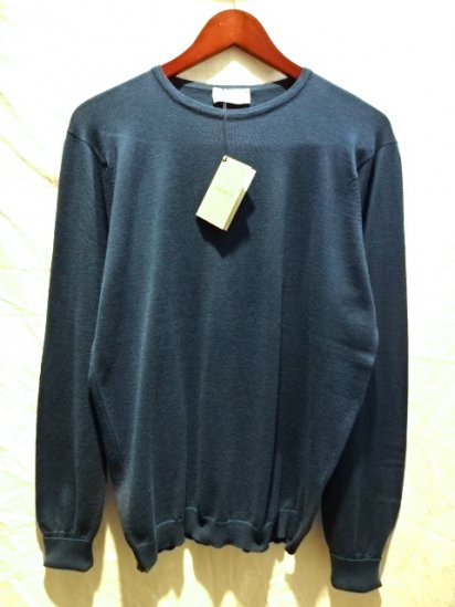 JOHN SMEDLEY Sea Island Cotton Martston Crew-neck Indigo