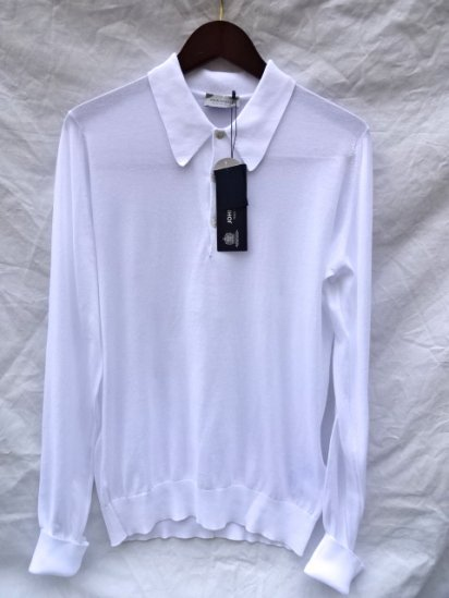 John Smedley Sea Island Cotton L/Sleeve Polo MADE IN ENGLAND