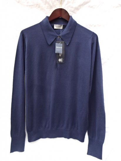 John Smedley Sea Island Cotton L/Sleeve Polo MADE IN ENGLAND Navy